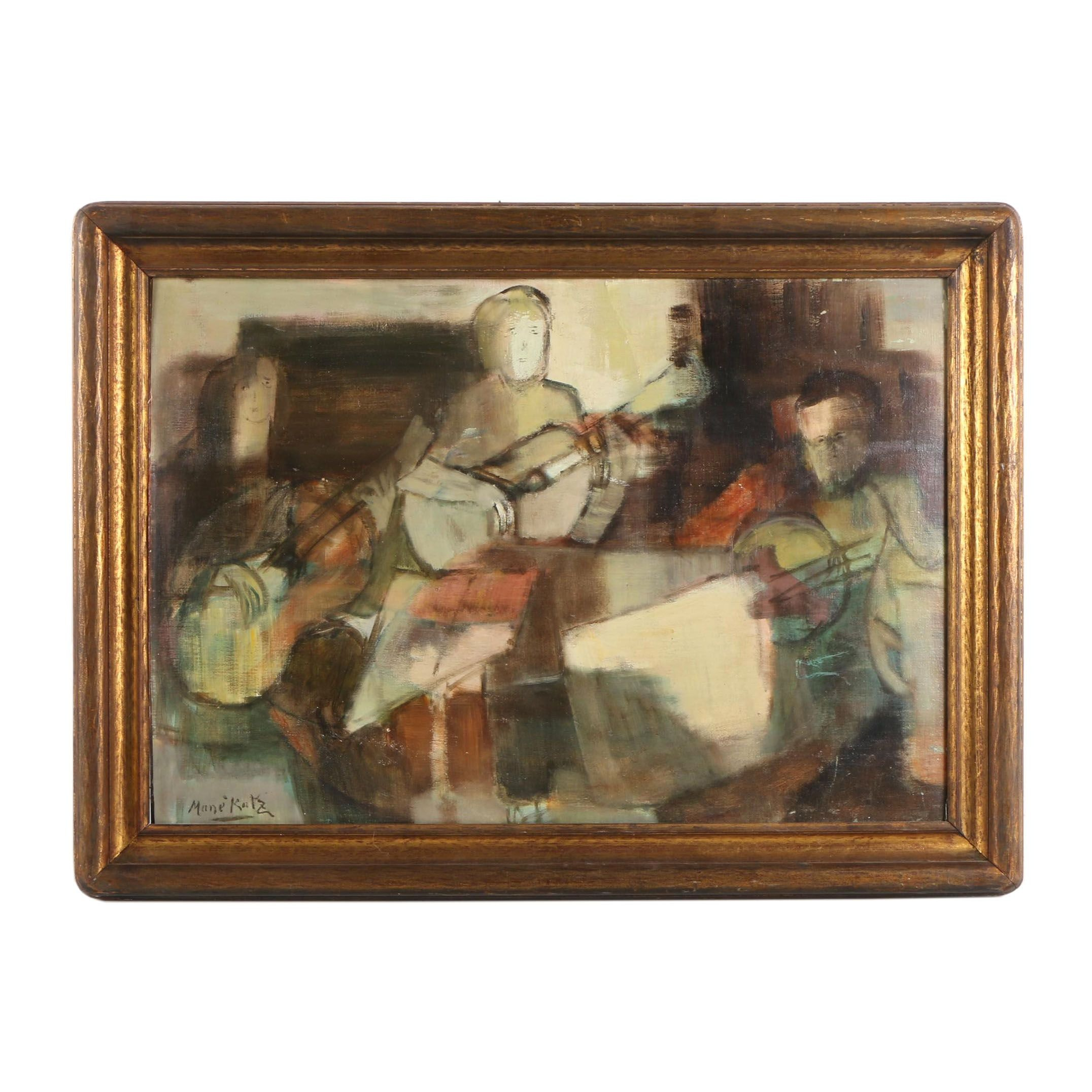 Oil Painting on Canvas In the Manner of Mané-Katz of Musicians