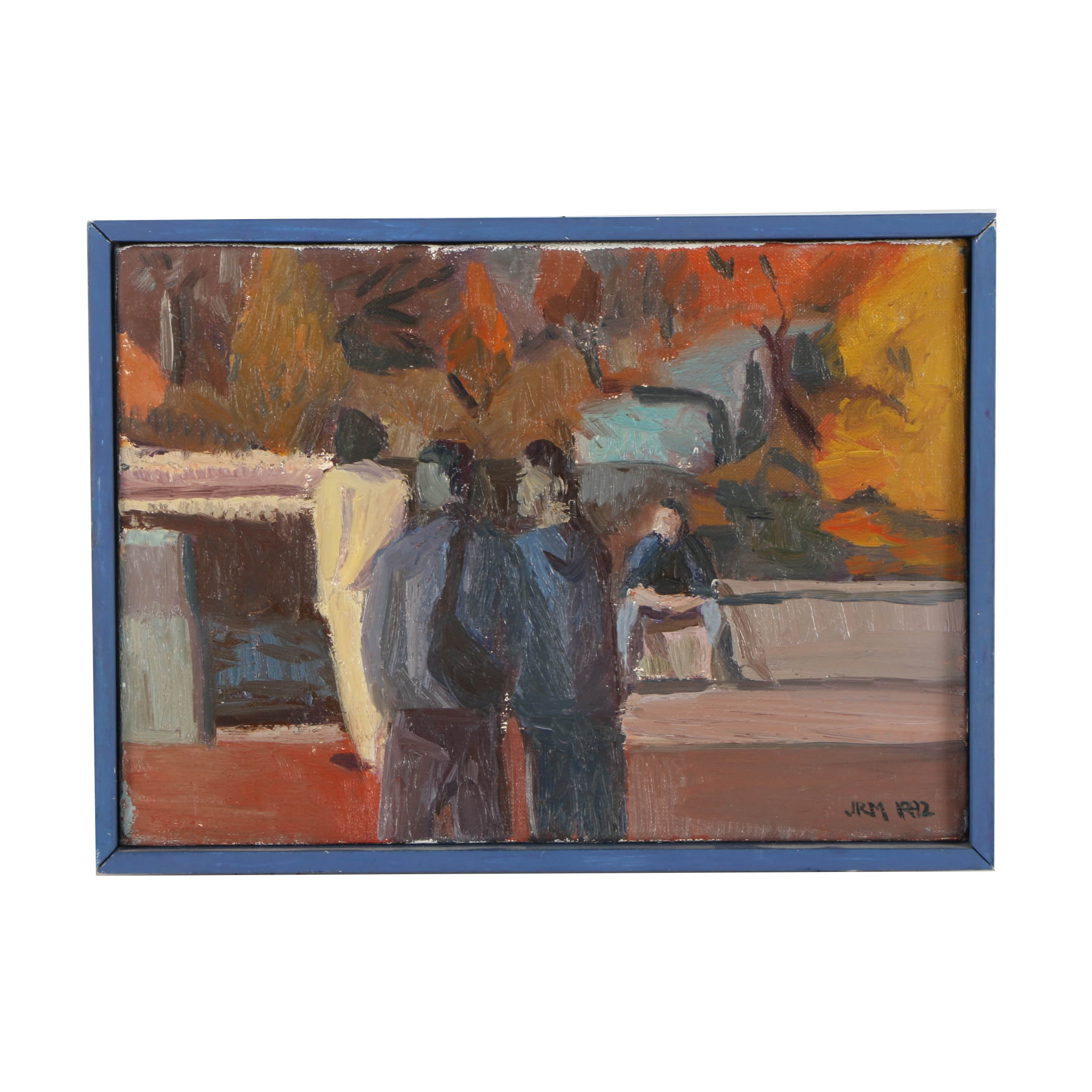 J.R.M. Abstract Oil Painting of Figures in an Autumnal Landscape