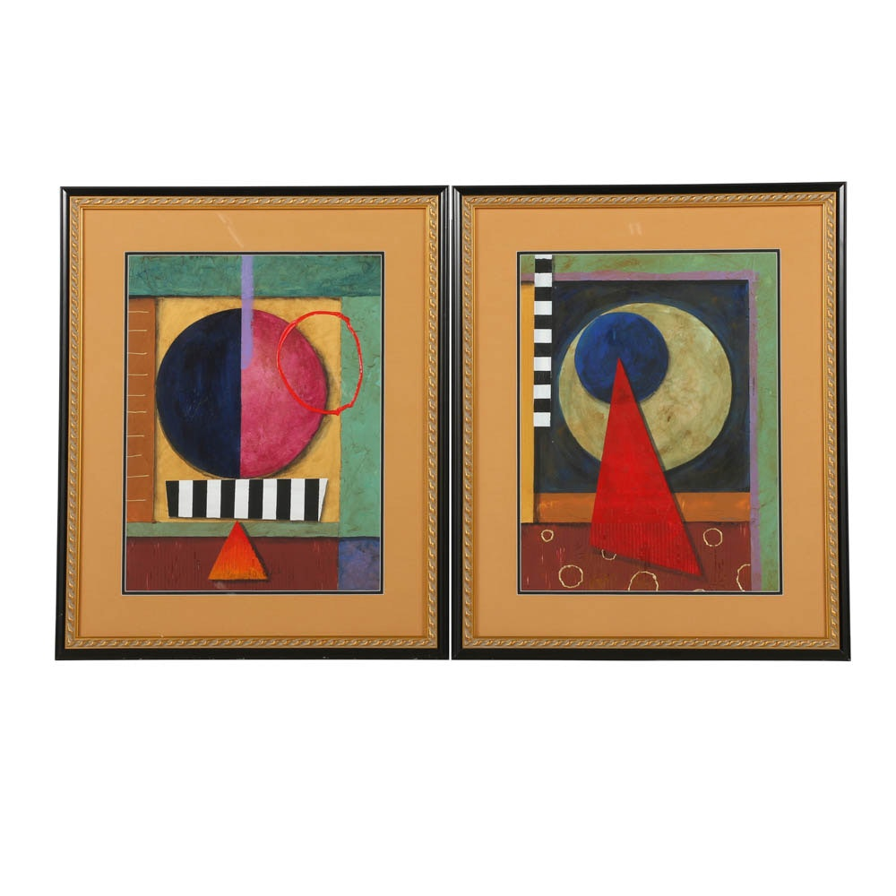 """Campbell Mixed Media Paintings """"Freudian Theory I & II"""""""