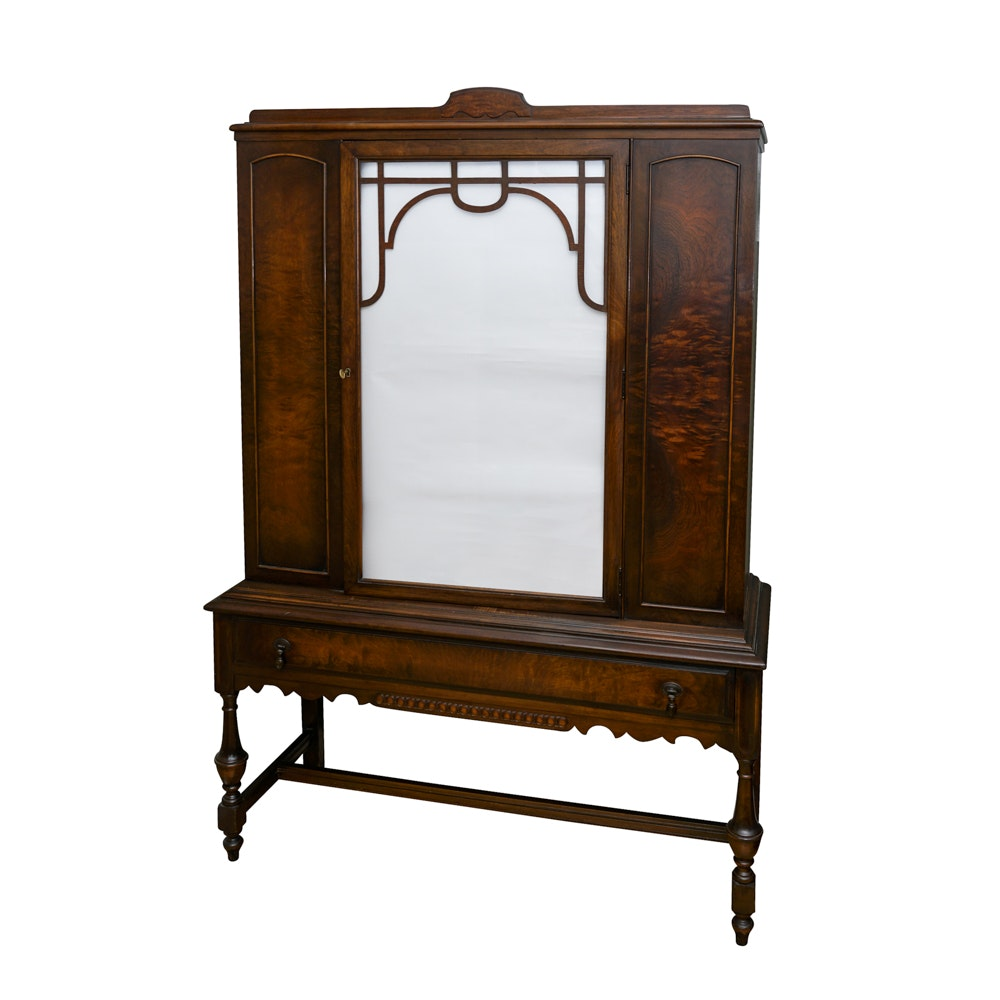 Beau Jacobean Style Glass Front Lowboy Cabinet ...