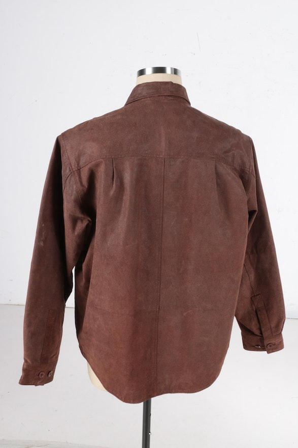 Men 39 s leather jacket and shirt ebth for Leather jacket and shirt