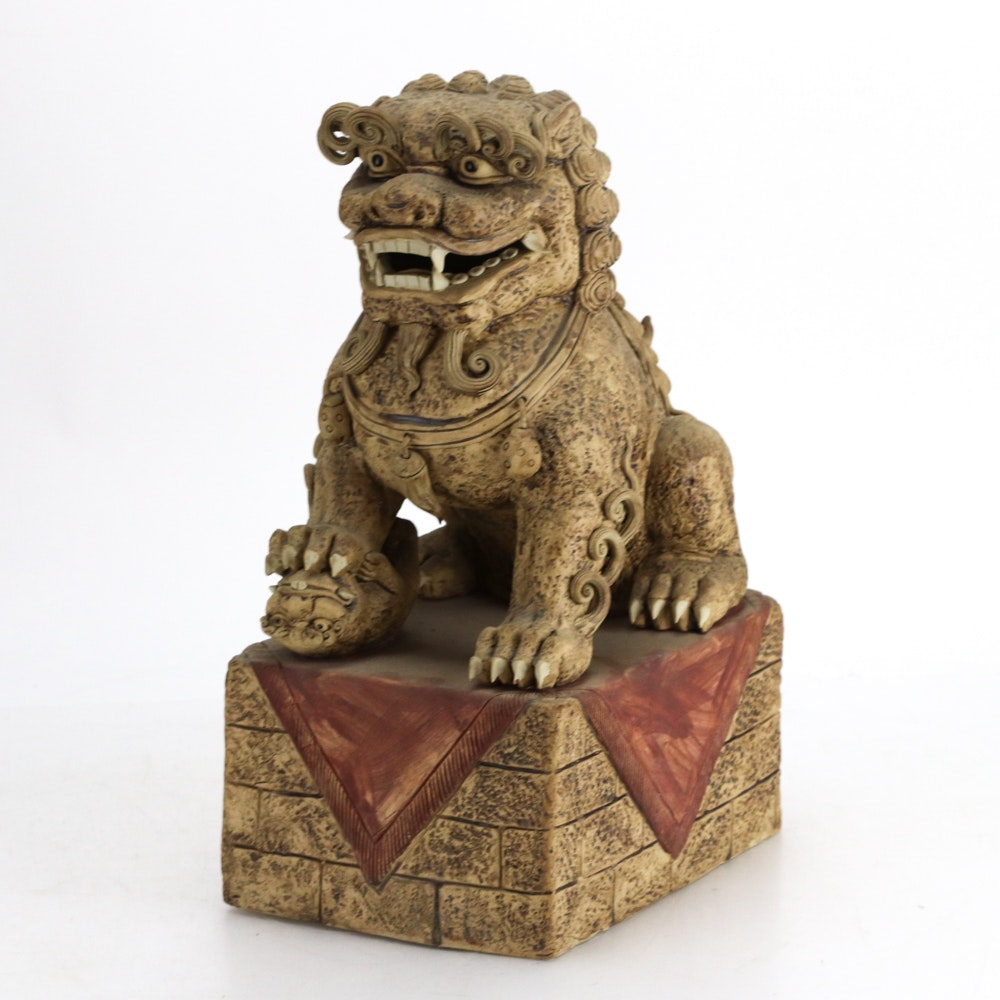 Chinese Style Clay Guardian Lion Sculpture