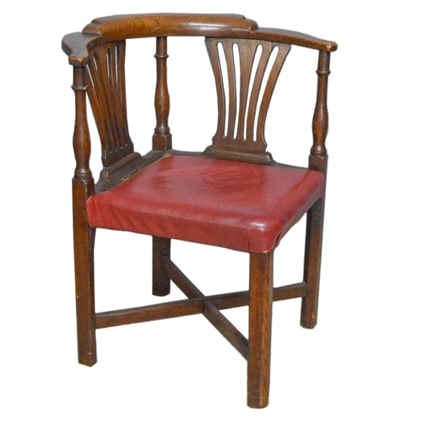 Antique Chippendale Elm Corner Chair ... - Antique Chippendale Elm Corner Chair : EBTH