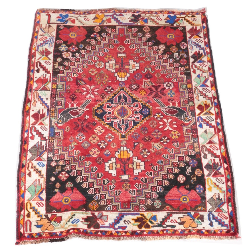 Hand Knotted Persian Kashan Wool Area Rug Ebth: Hand-Knotted Persian Shiraz Area Rug : EBTH