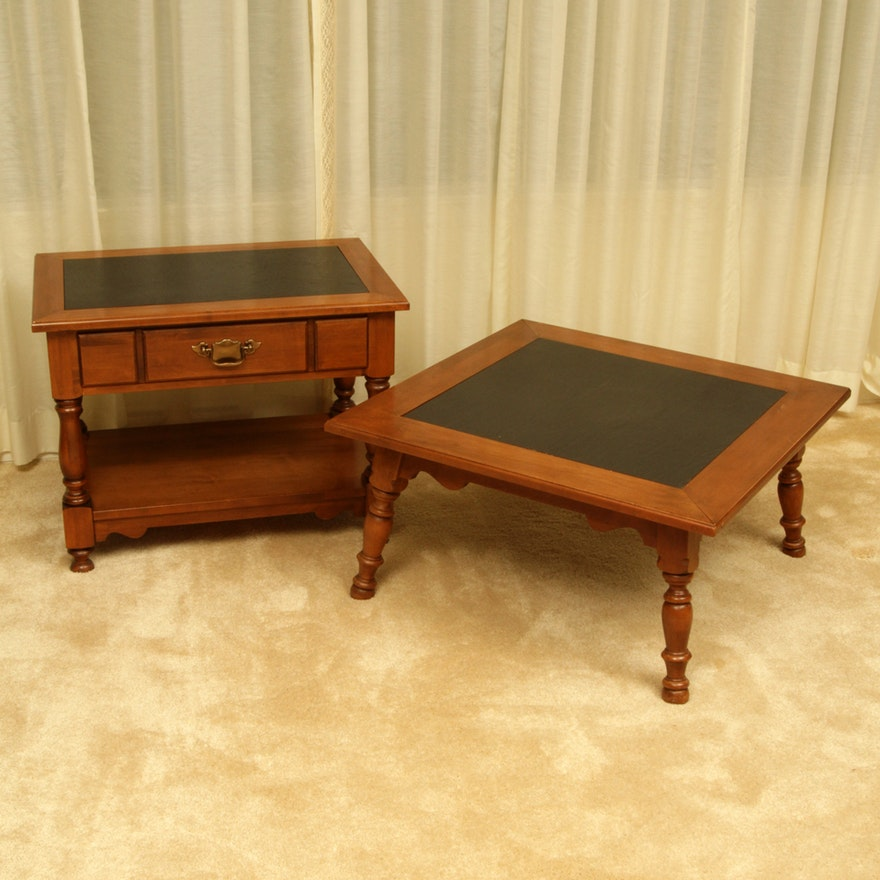 Colonial Style Slate Top Maple End Table And Coffee By Tell City