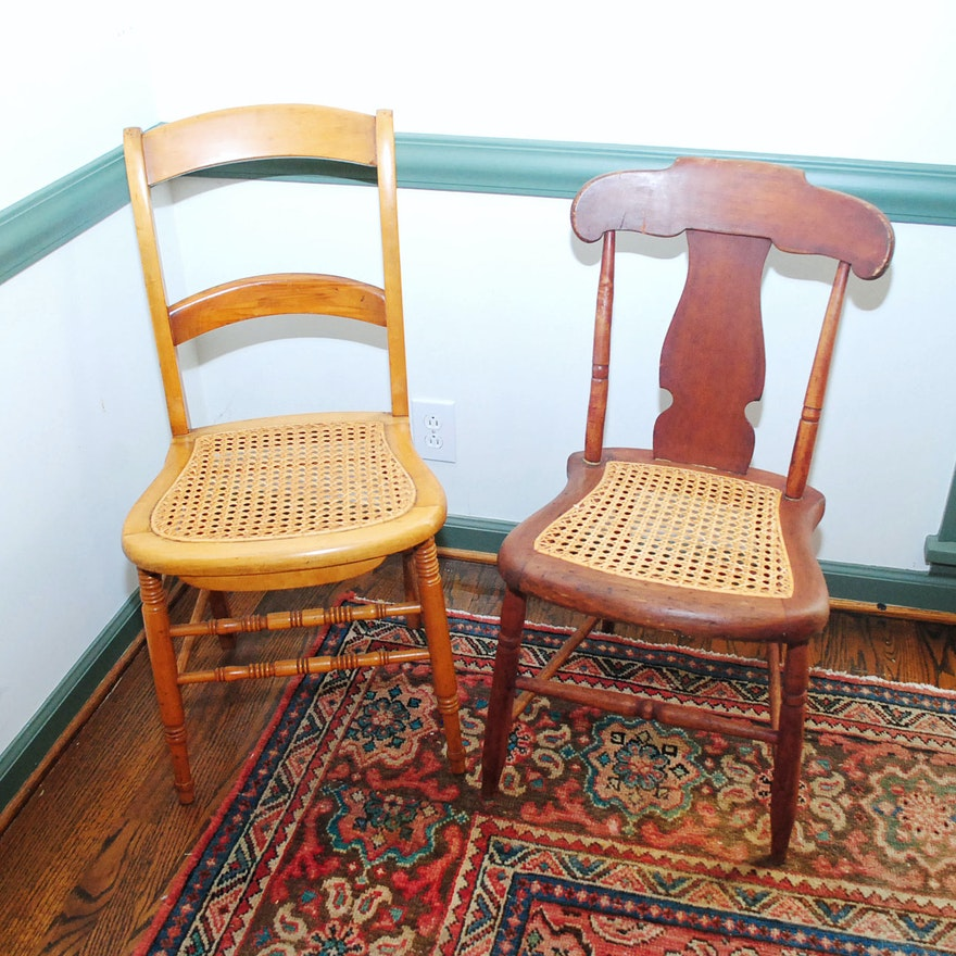 Vintage Wooden Chairs With Cane Seats