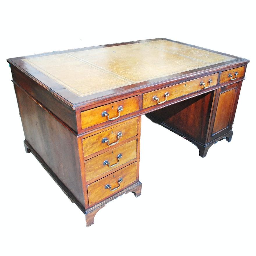 Antique English Mahogany Partners Desk ... - Antique English Mahogany Partners Desk : EBTH