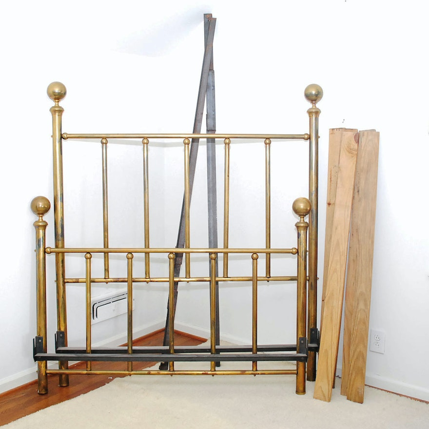 Vintage Brass Tone Cannonball Full Bed Frame : EBTH