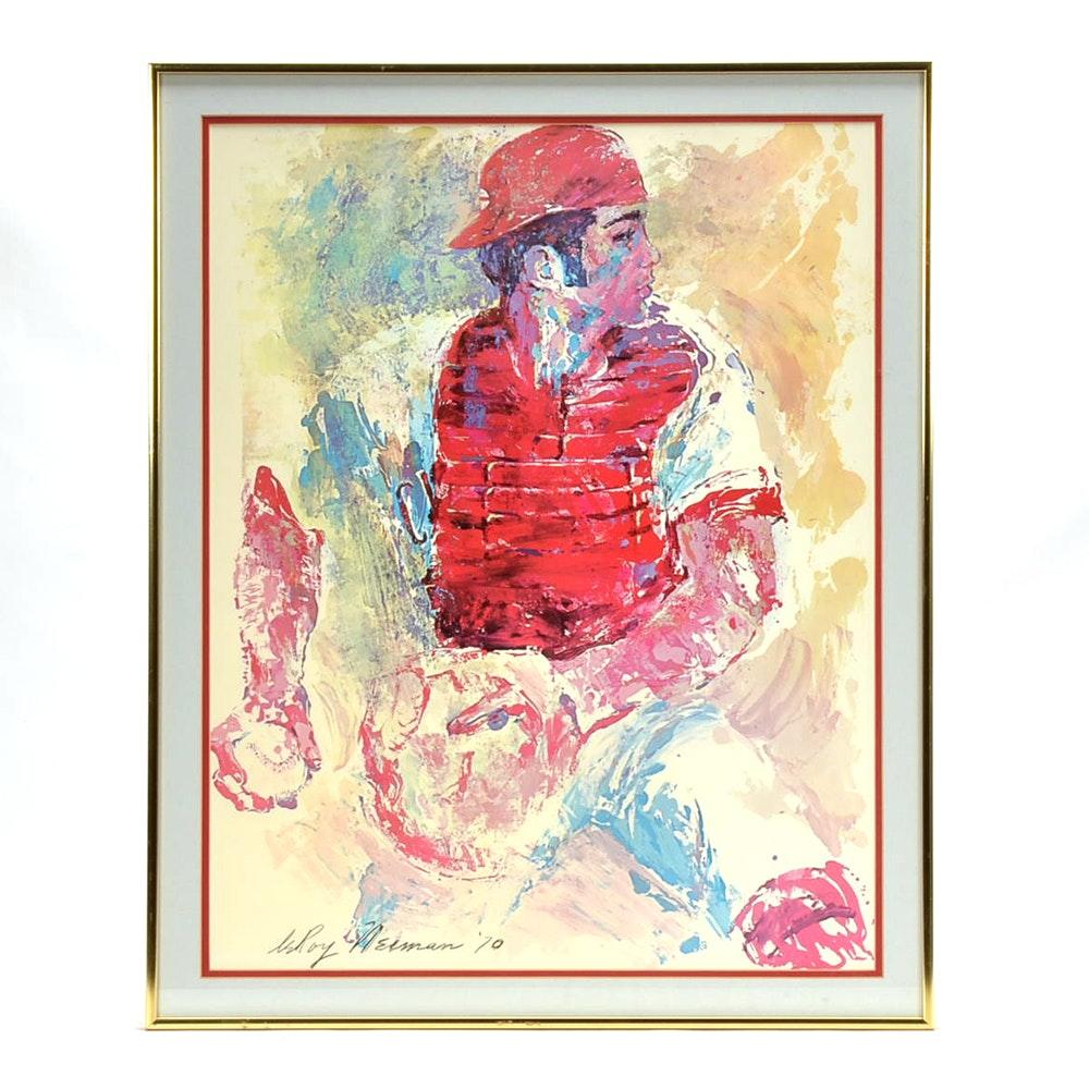 "Framed Lithograph Print Leroy Nieman ""Johnny Bench"""
