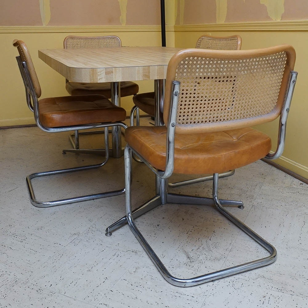 Laminate Top Dining Table And Mid Century Modern Chromcraft Cantilever  Chairs ...