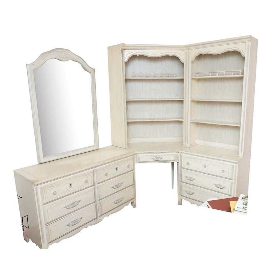 French Provincial Style Dresser And Bookcase Unit