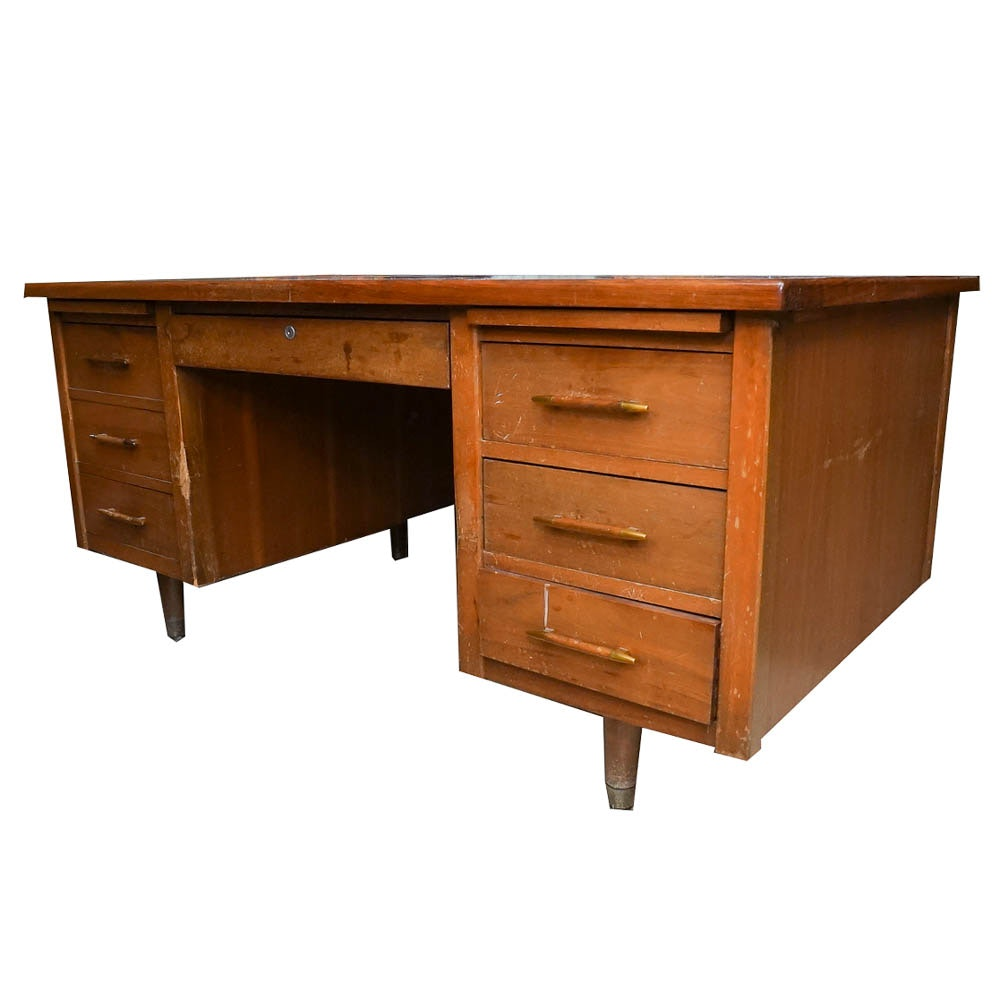 Mid Century Modern Oak Office Desk From Indiana Desk Co.