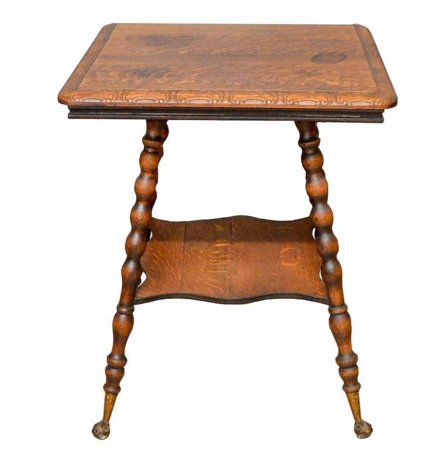Vintage quarter sawn oak lamp table ebth vintage quarter sawn oak lamp table geotapseo Choice Image