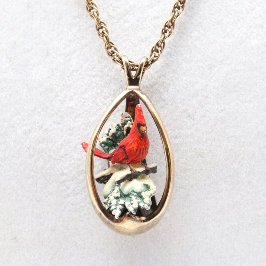 pewter red charm shipping orders on product cardinal jewelry necklace free overstock watches cgc over bird