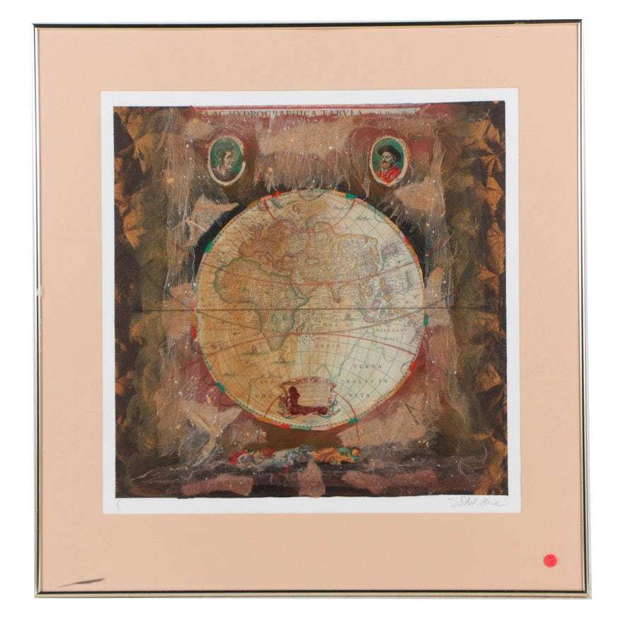 limited edition mixed media print on paper with globe imagery ebth