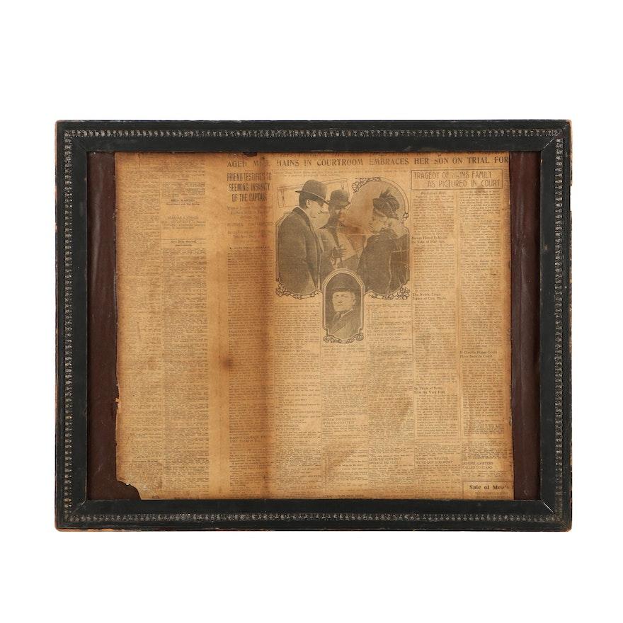 1908 Newspaper in Frame : EBTH