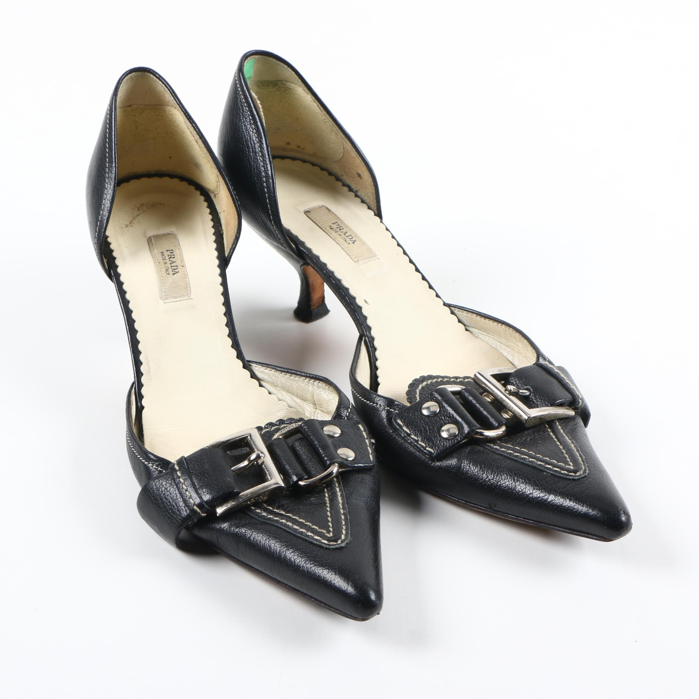 Prada D'Orsay Black Leather Kitten Heels : EBTH