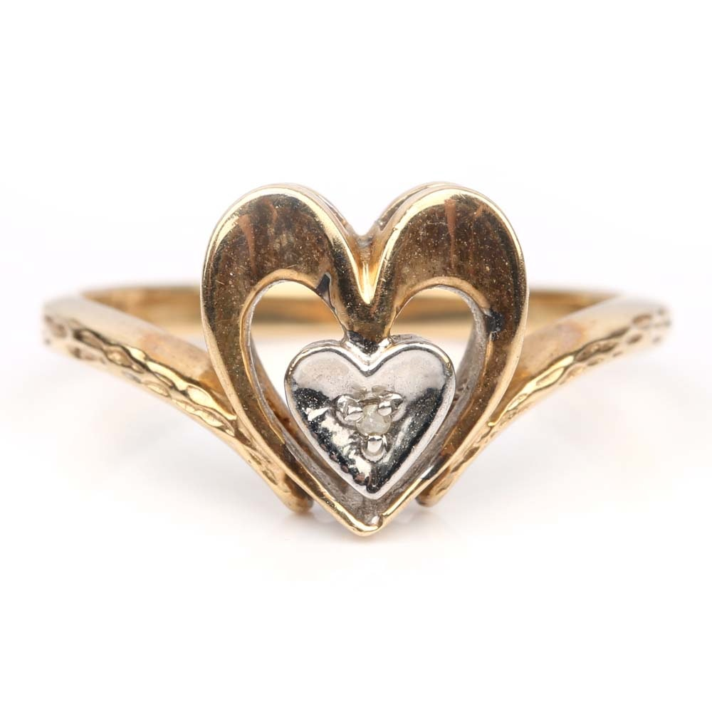 10K Yellow Gold Open Heart Ring with a Diamond Set in a White Gold