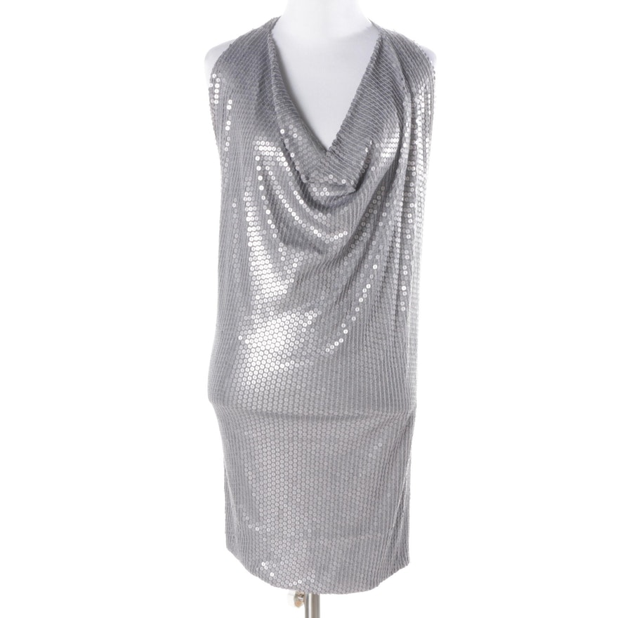 19ebfd885289 BCBG Max Azria Grey Sequin Halter Dress : EBTH