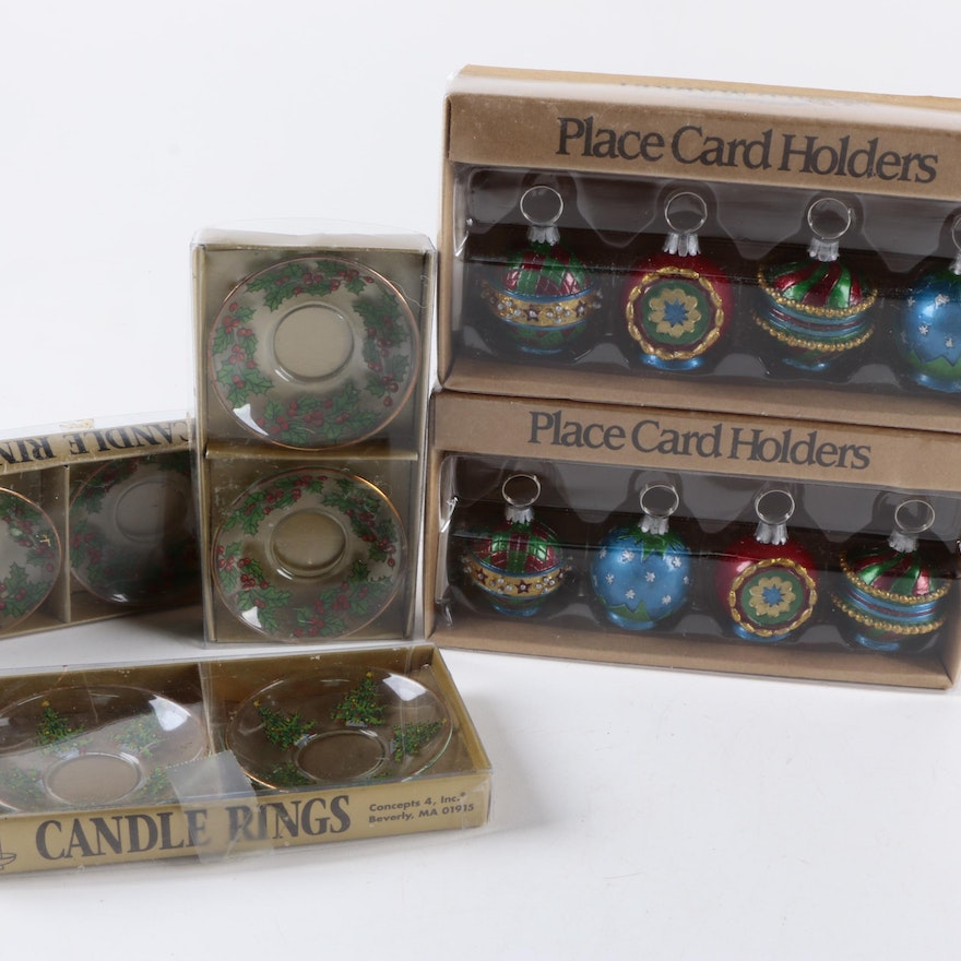 christmas place card holders and candle rings ebth. Black Bedroom Furniture Sets. Home Design Ideas