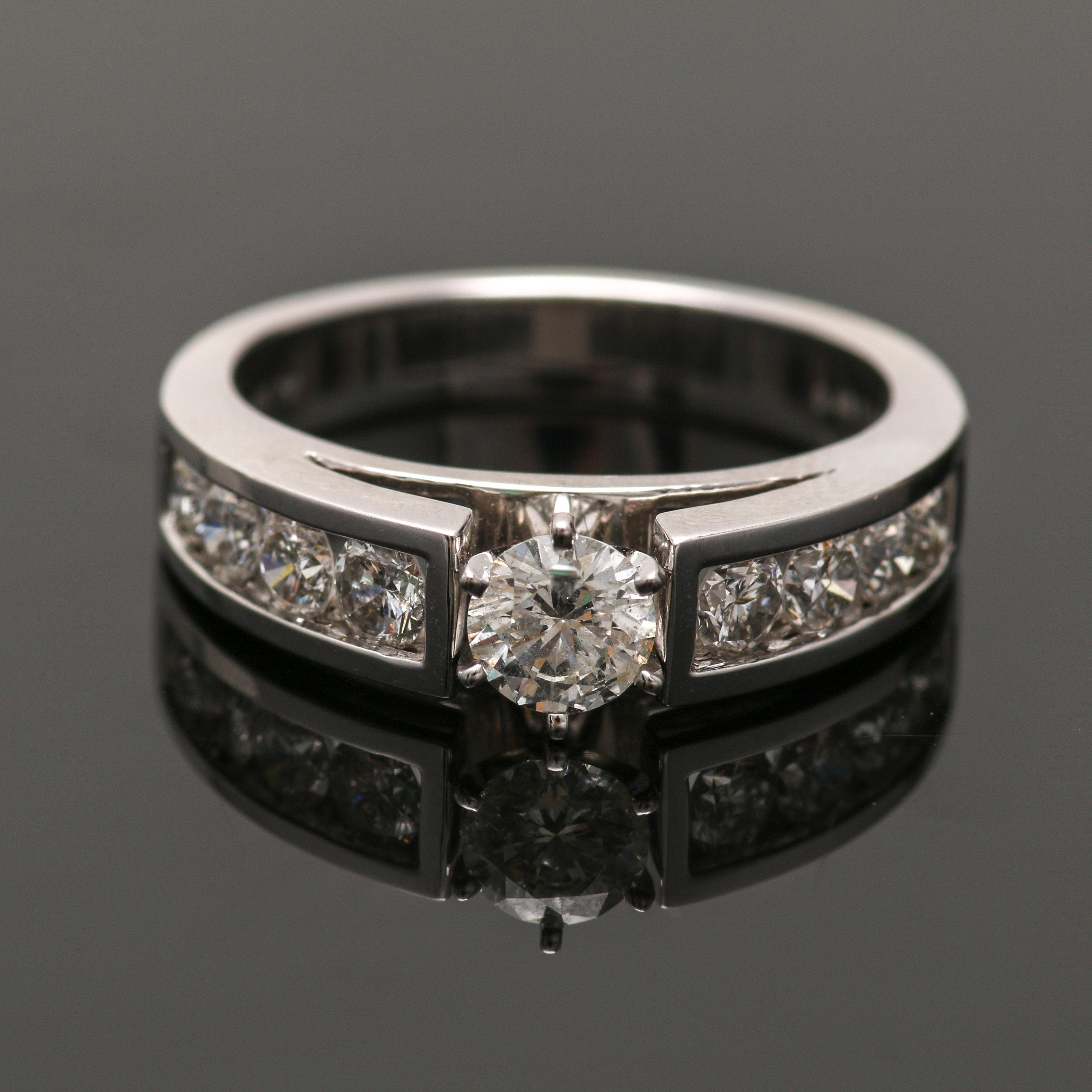 14K White Gold 1.14 CTW Diamond Ring