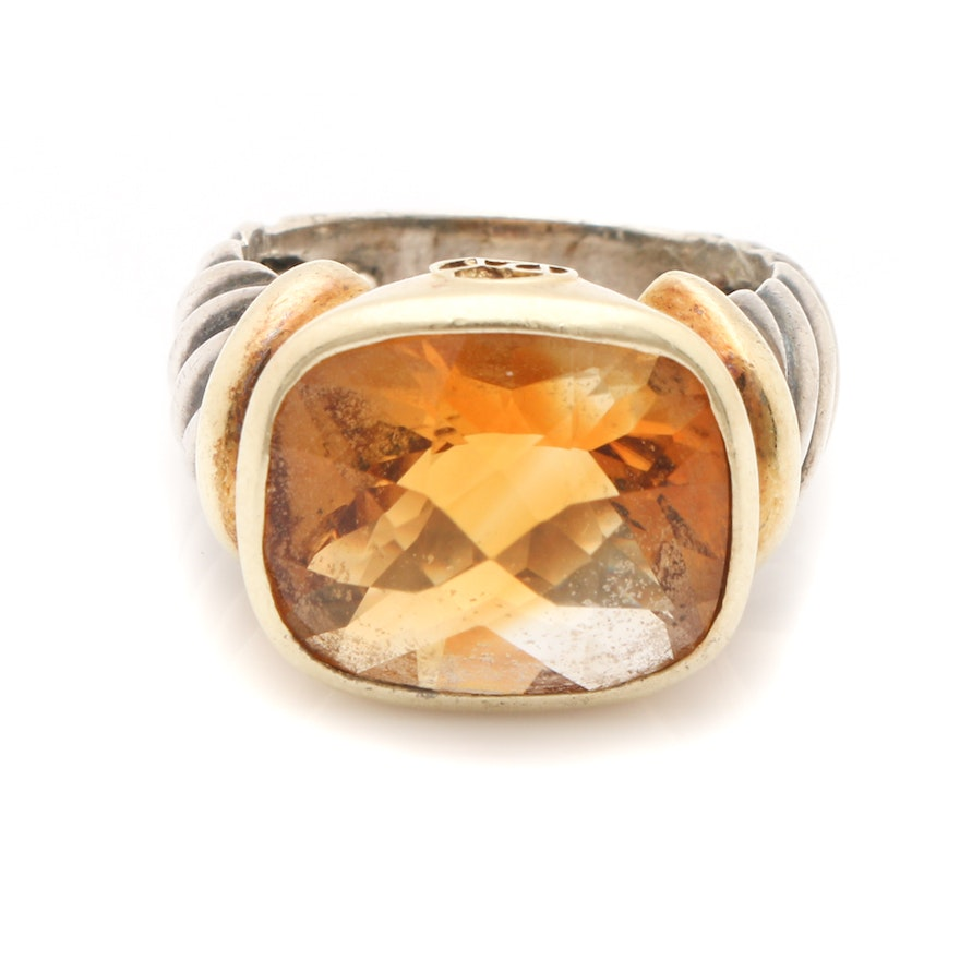 fa3abb8f4c09c David Yurman Sterling Silver Citrine Ring With 14K Yellow Gold Accents