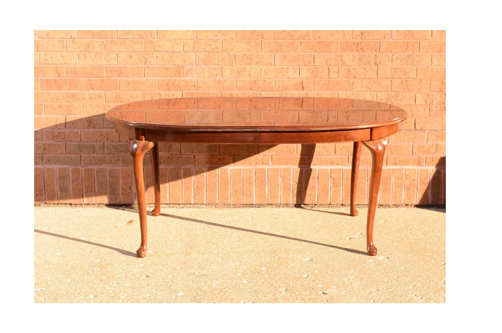 Vintage Queen Anne Style Cherry Dining Table with Leaf Insert