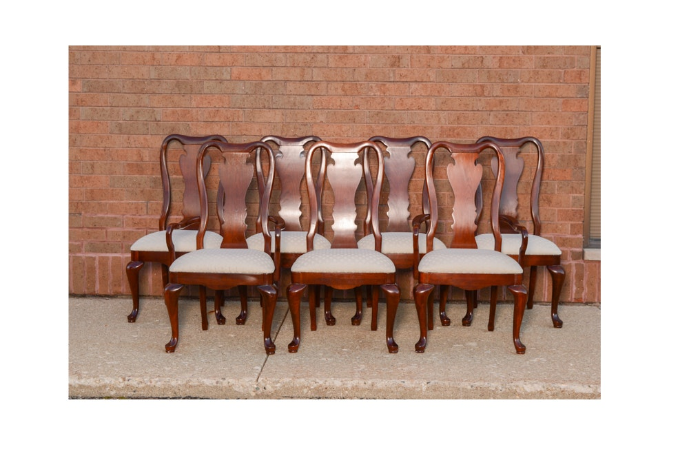 Vintage Queen Anne Style Cherry Dining Chairs by Thomasville