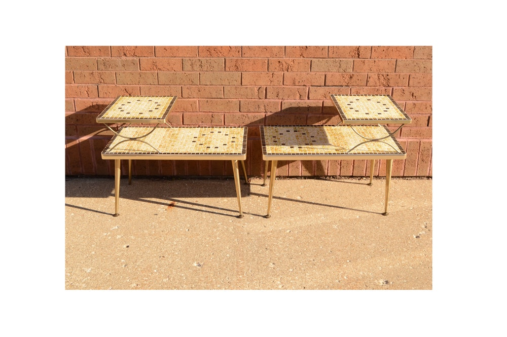 Pair of Mid Century Modern Tiled End Tables