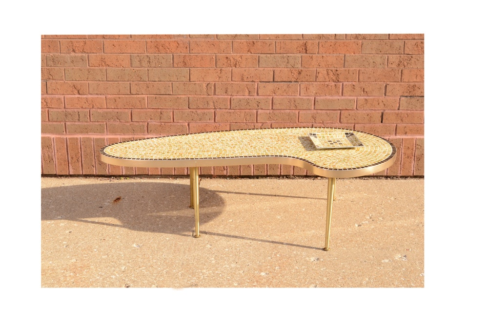 Mid Century Modern Tiled Coffee Table with Matching Ashtray