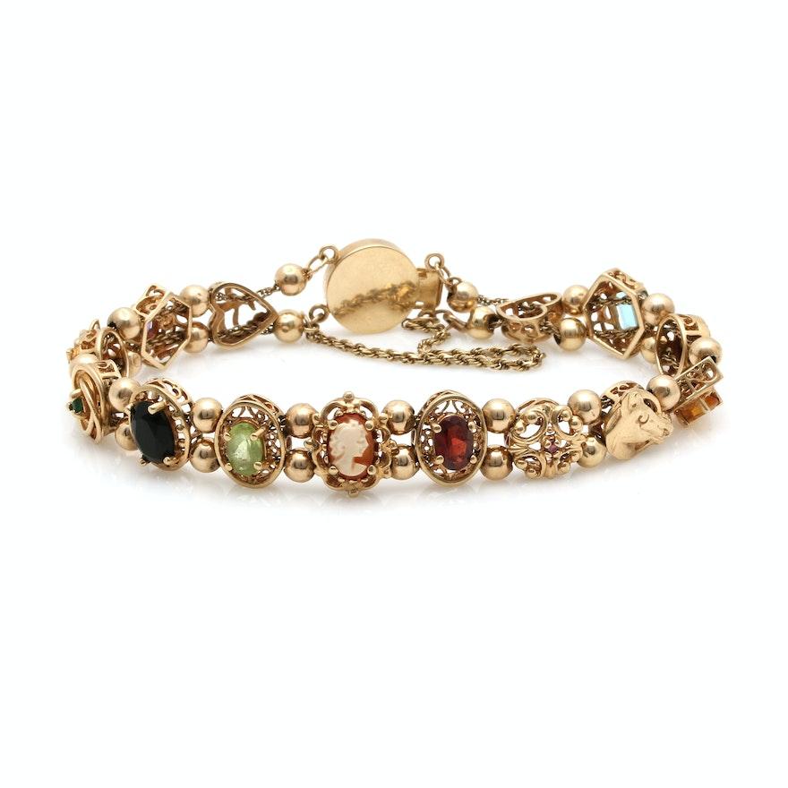 14k Yellow Gold Charm Bracelet: 10K And 14K Yellow Gold Multi Gemstone Slide Charm