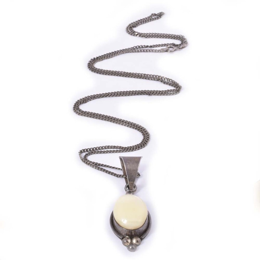 Sterling silver and tagua nut pendant necklace ebth sterling silver and tagua nut pendant necklace aloadofball Gallery