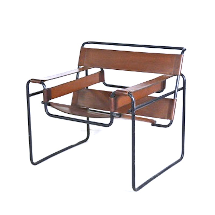 Leather And Metal Chair After Designer Marcel Breuer Wassily Chair