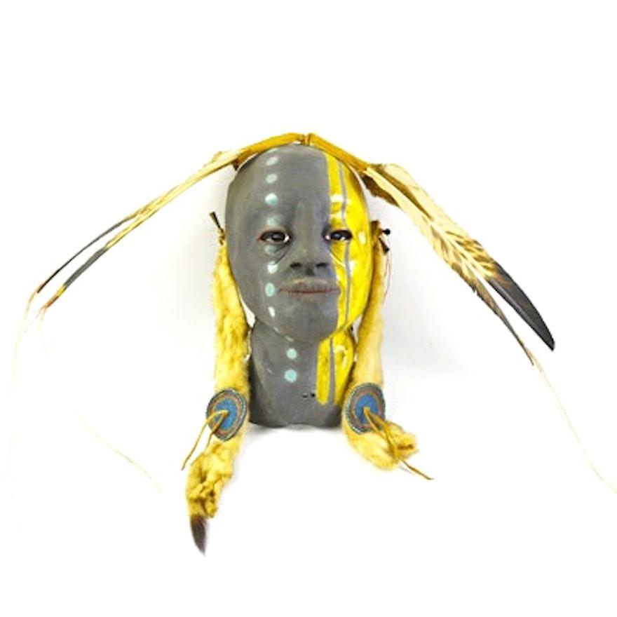 Austin Real Rider Native American Raku Clay Mask : EBTH