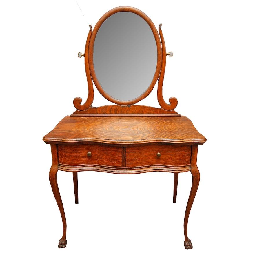 Antique Victorian Tiger Oak Vanity ... - Antique Victorian Tiger Oak Vanity : EBTH