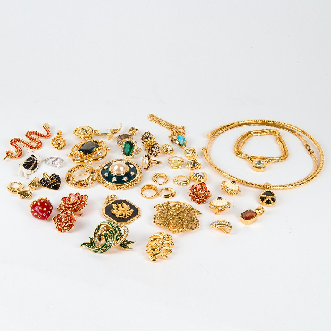Gold Tone Jewelry Featuring Designer Kenneth Jay Lane and Joan Rivers