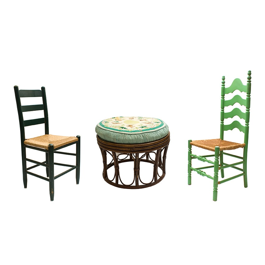 Vintage Farmhouse Chairs and Needlepoint Stool