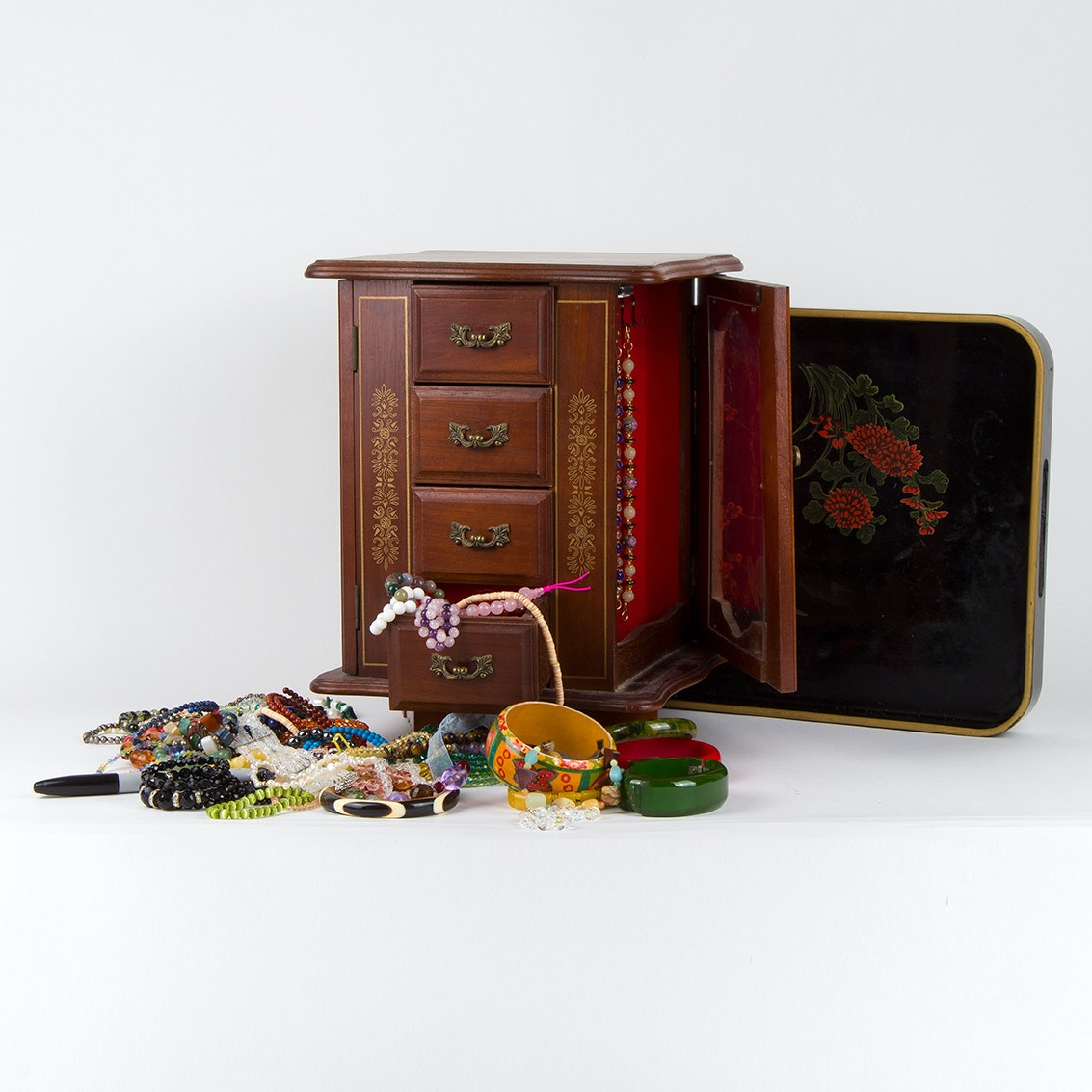 Collection of Beaded Jewelry and Wooden Jewelry Box
