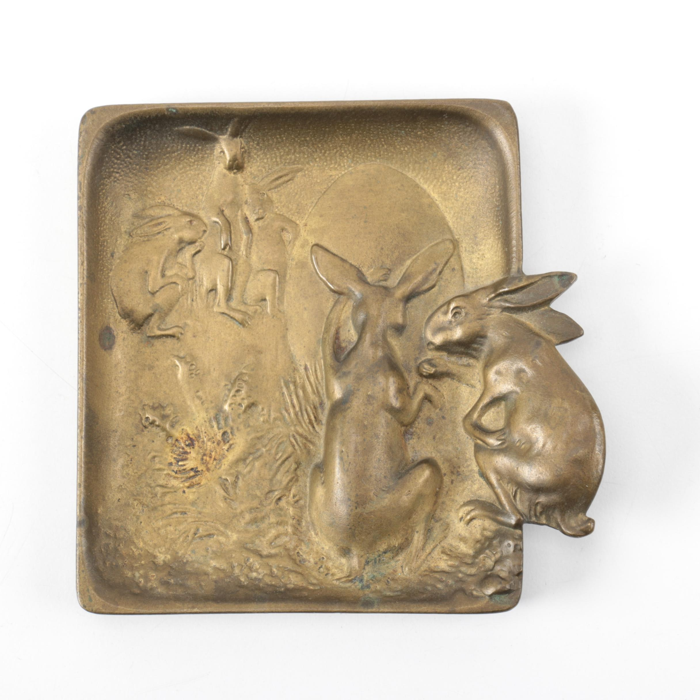 Bronze Art Nouveau Figural Rabbit Dish