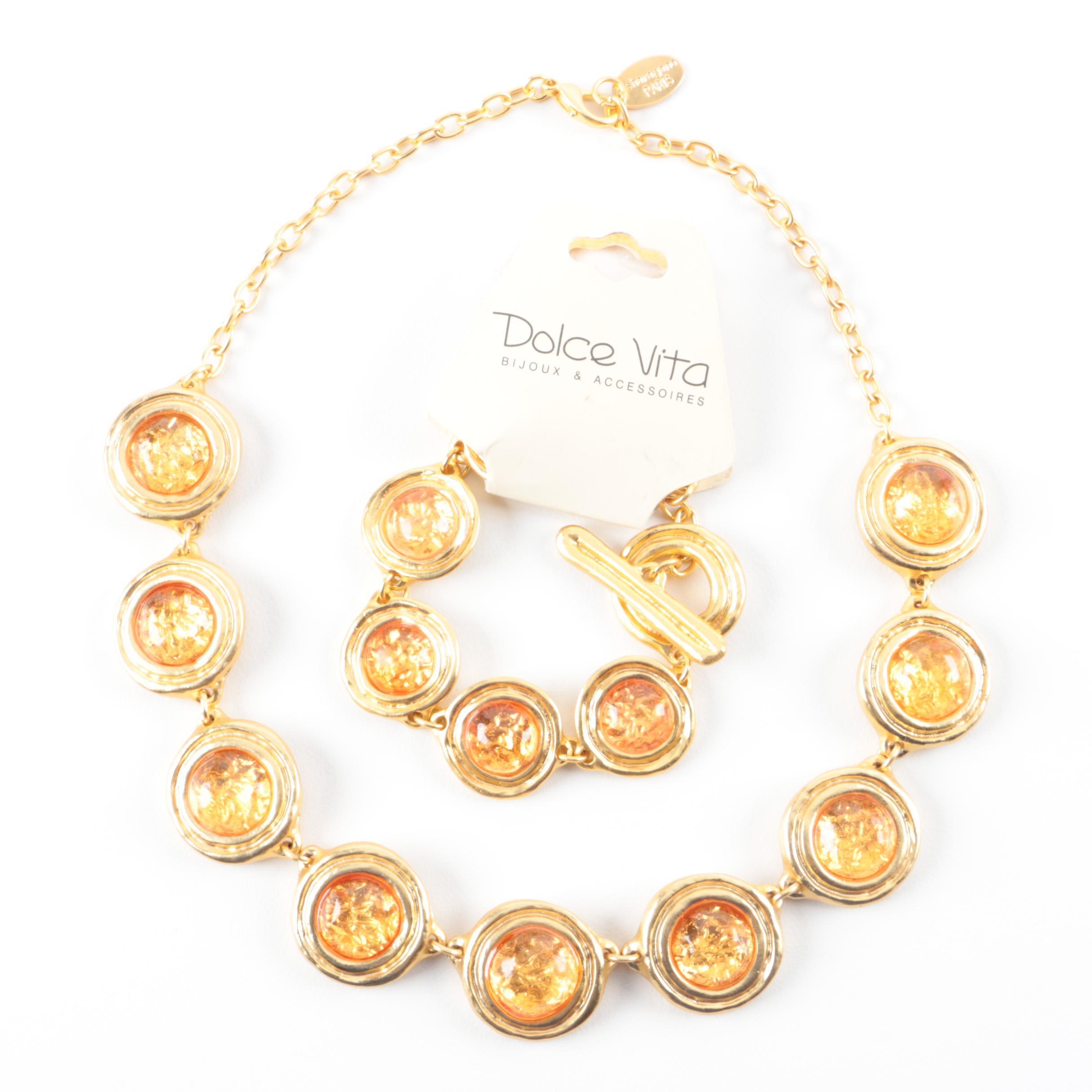 Dolce Vita Gold Tone Necklace and Bracelet Set