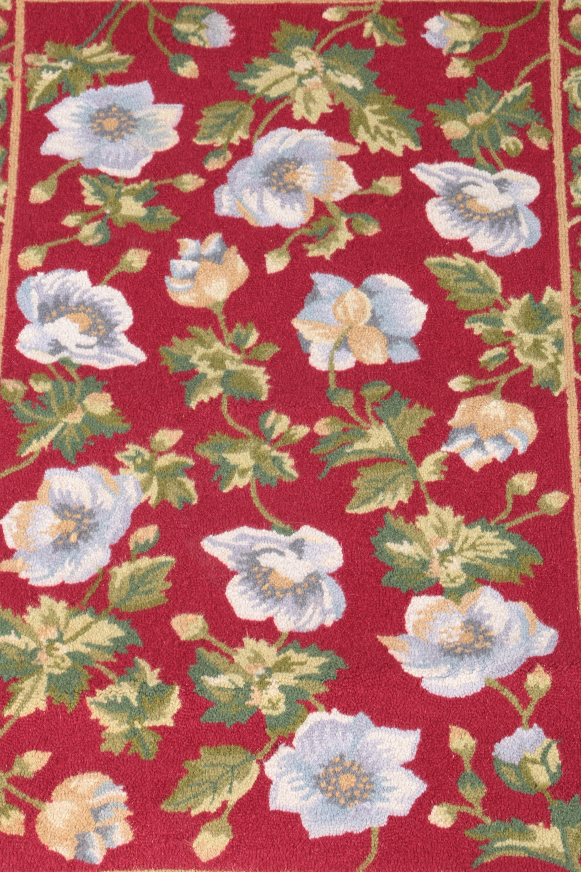 Hooked Floral Accent Rug Ebth