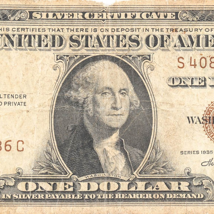1935 A Brown Seal Hawaii 1 Silver Certificate Ebth