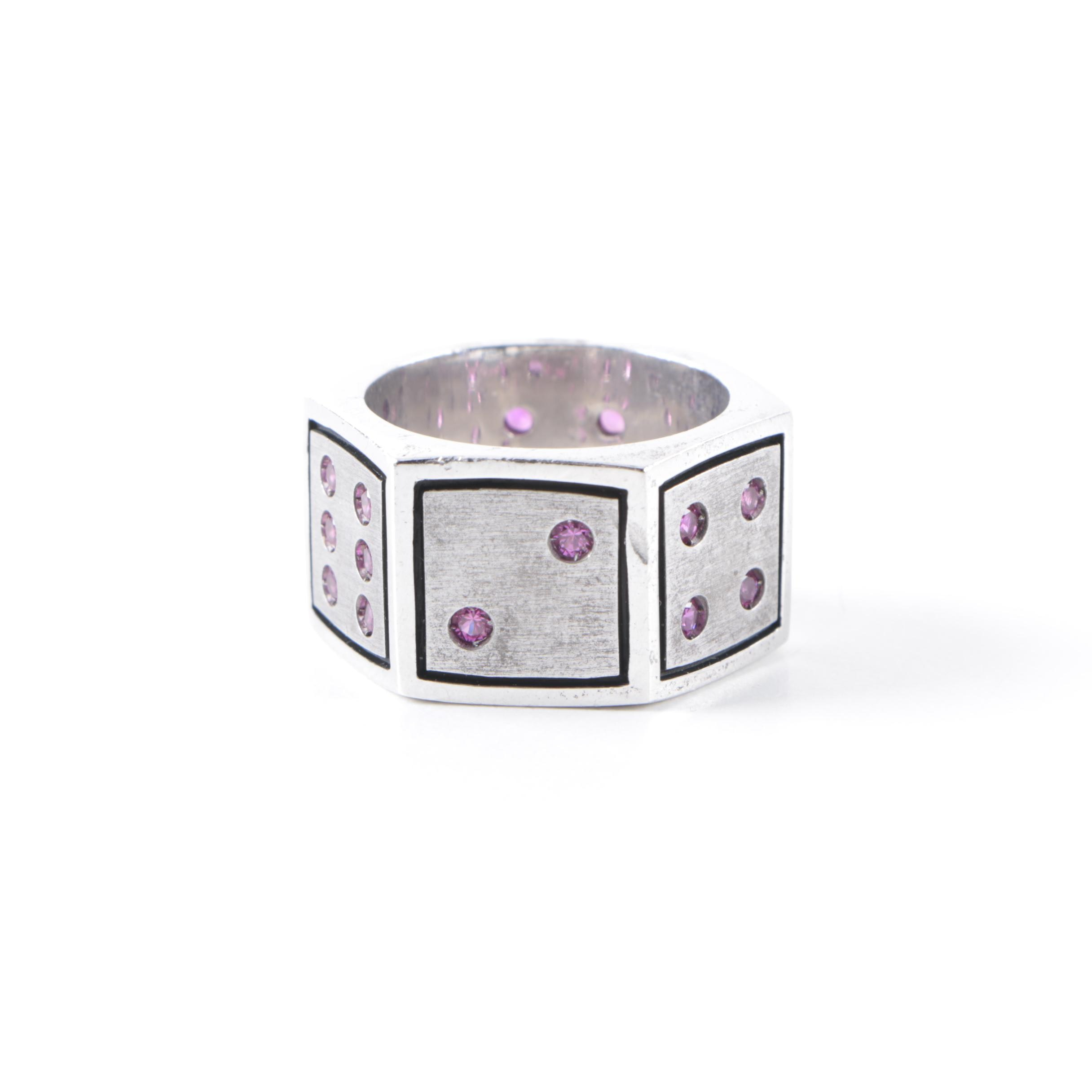 """Ecks Sterling Silver """"Lucky 7"""" Hexagonal Ring with Stones"""