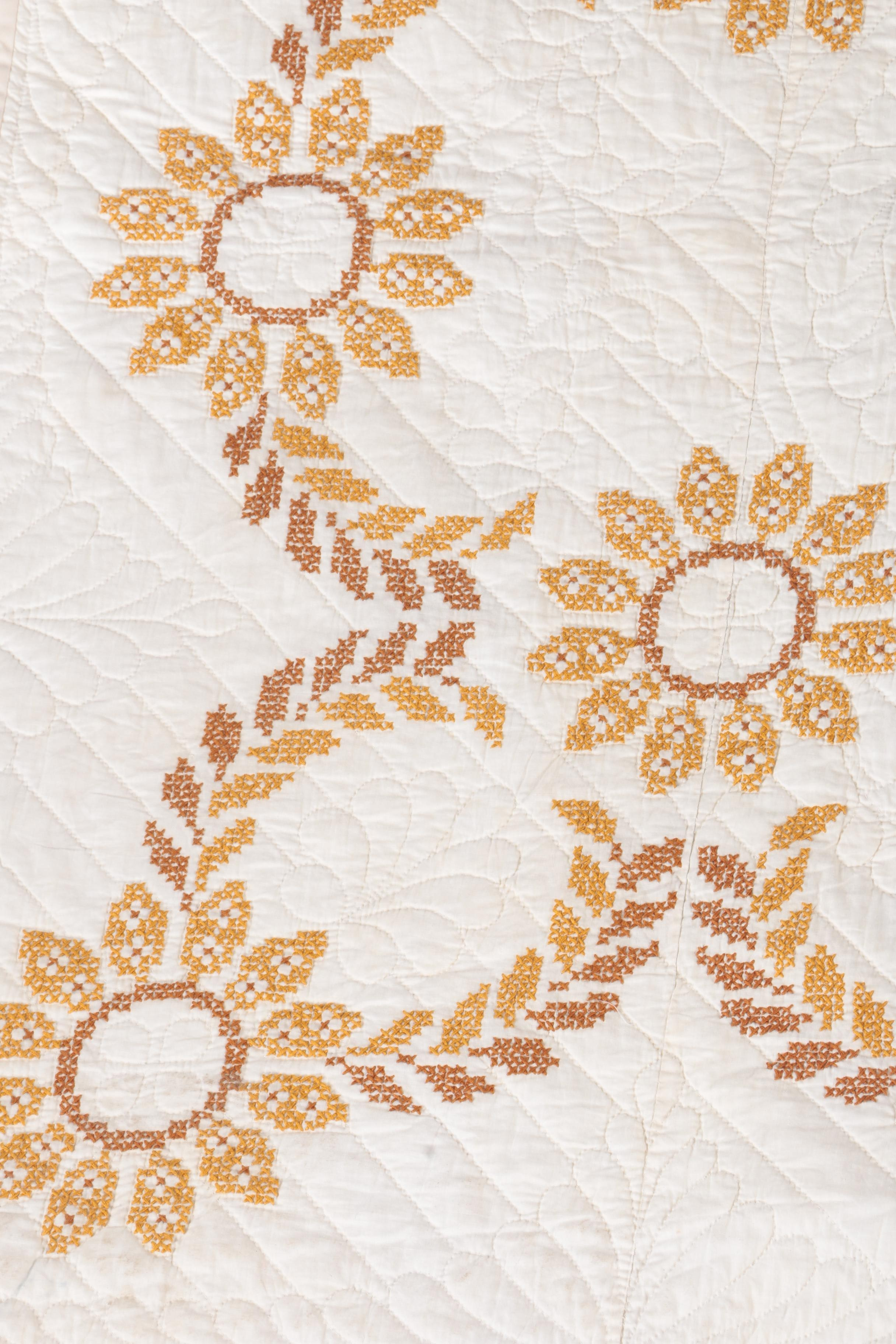Vintage Handmade Cross Stitch Quilt Ebth