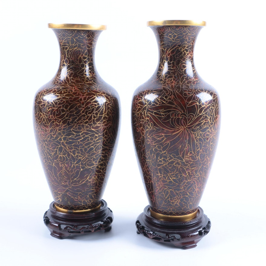 Pair Of Chinese Cloisonn Vases With Floral Motif Ebth
