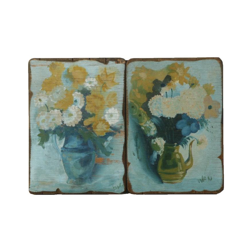 Pair Of Oil Paintings On Board Of Flower Vases Ebth