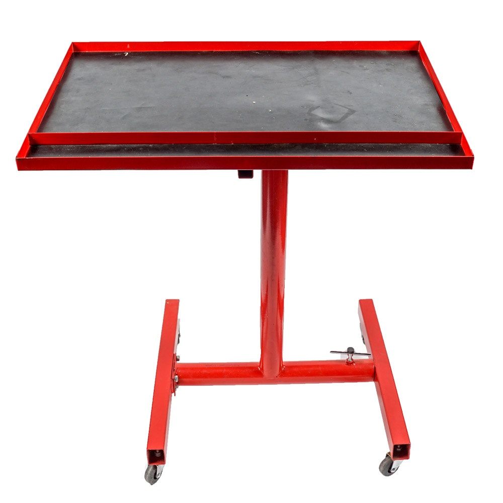 Movable Red Metal Work Table ...
