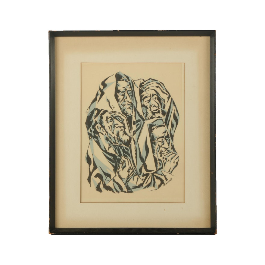 1940s Serigraph on Paper After Marcia Marcus