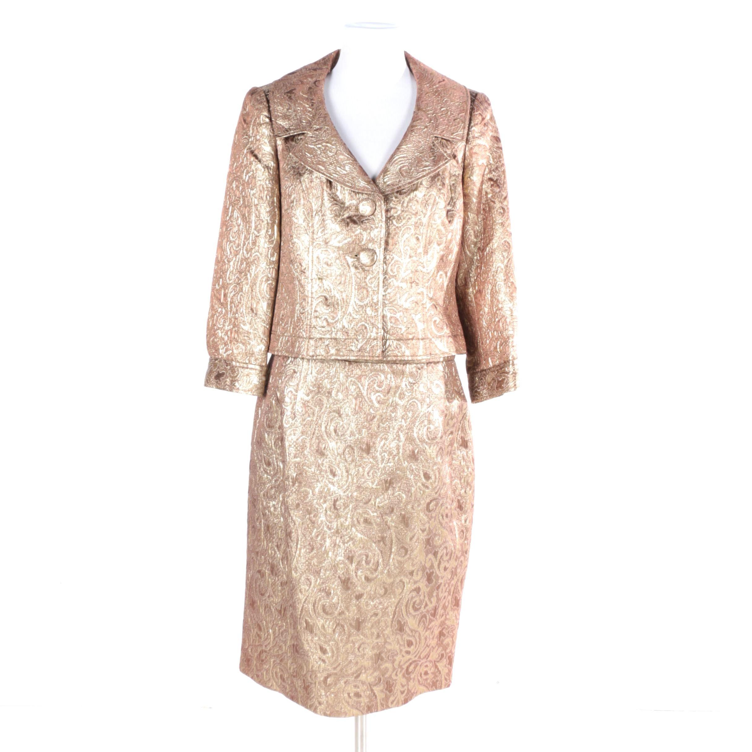 Women S Isabel Nina Gold Tone Skirt Suit Ebth