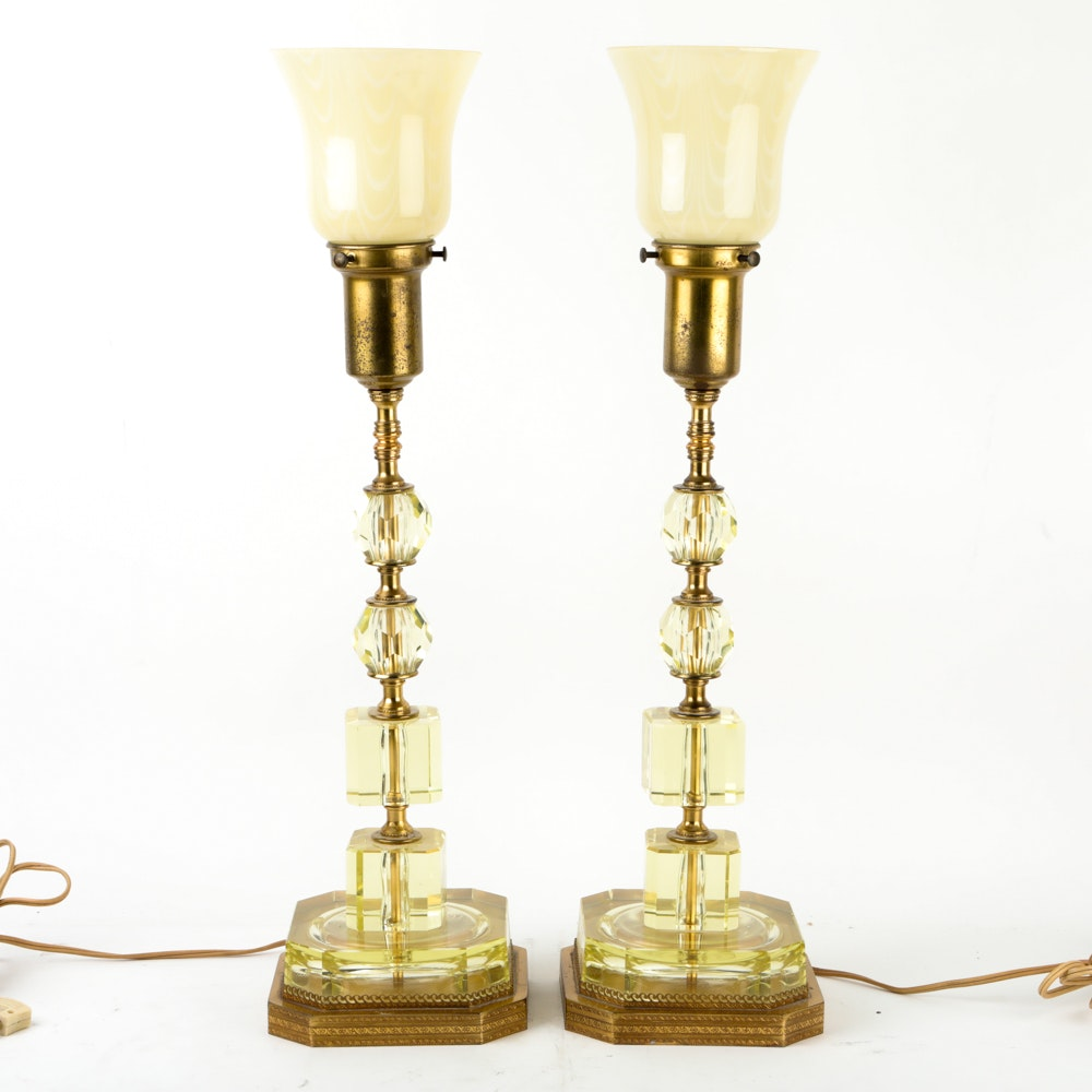 Vintage Brass and Glass Buffet Lamps